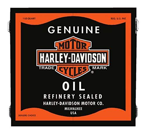 Harley-Davidson Genuine Oil Can Dart Board Cabinet - Black Wooden Cabinet 61912