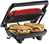 Hamilton Beach Electric Panini Press Grill With Locking Lid, Opens 180 Degrees For Any Sandwich Thickness, Nonstick 8' X...