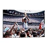 Ghychk Póster deportivo de Diego Maradona de leyendas del fútbol para decoración de pared, lienzo para sala de estar, obra de arte listo para colgar, 45 x 30 cm