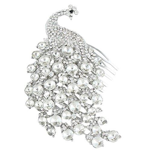 Ever Faith Nozze di cristallo austriaco del pavone dei capelli pettine chiaro silver-tone 4.3 pollici A08207-2