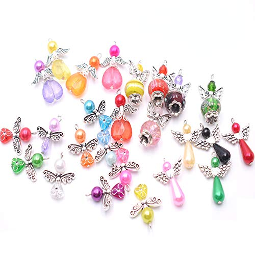 25 Pcs Guardian Angel Charms Pendants, Angel Charm Pendant Crafts,f or Necklace, Bracelet, Jewelry, Making, Earring Crafts(Mixed color)