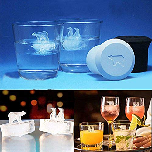 Novelty 3D Silicone Ice Cube Trays,Polar Bear and Penguin DIY Molds Maker BPA Free for Whiskey Scotch Drinking 2 Packs