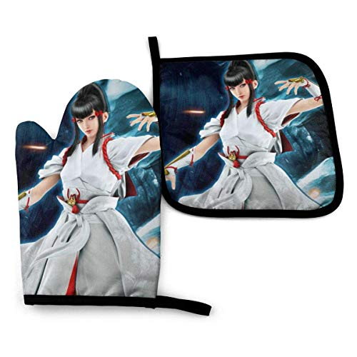 shenguang tek-Ken Oven Mitts and Pot Holders Sets Hanging Non-Slip Heat Resistant 2 Piece Set for Kitchen BBQ Cooking Baking Grilling Machine Washable