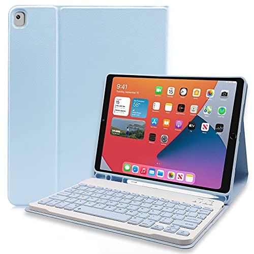 Funda con Teclado para iPad 10.2'' 9th Gen 2021/8th Gen 2020/7th Gen 2019/iPad Air 3rd 2019/iPad Pro 10.5 2017 con Teclado Inalámbrico Desmontable Magnético