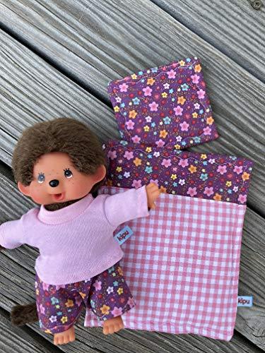 Puppenkleidung handmade passend für MONCHICHI Bär oder Teddy Gr. 20 cm Bekleidung Schlafanzug Pyjama + Bettzeug NEU