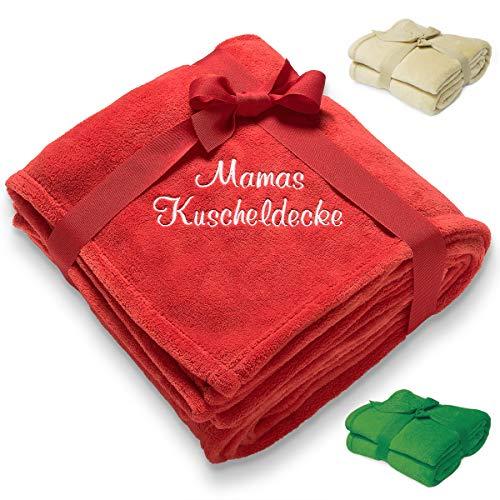 Diamandi Kuscheldecke mit Namen Bestickt   180 x 130 cm   rot oder grün   personalisiert mit Wunsch-Text   kuschelige Geschenkidee für Baby und Mama
