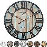 Westzytturm Reloj de pared de madera grande con números romanos en 3D, hecho a mano, redondo, 60 cm, para sala de estar, cocina, comedor, oficina, jardín (azul, 60 cm de diámetro)