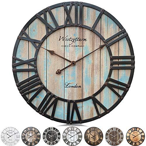 Westzytturm Grande Horloge Murale Bois (Bleu 60 cm Diamètre) Style Industriel Vintage Design Decorative Silencieuse Mécanisme Horloge Murale de Cuisine, Salon, Cheminee