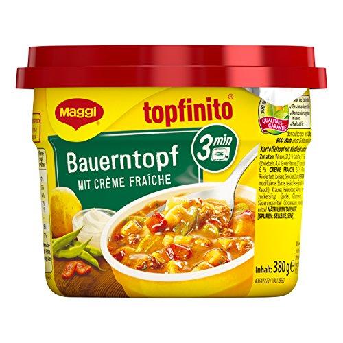 Maggi Topfinito Bauerntopf mit Creme fraiche, fertiger Kartoffel-Eintopf mit Bohnen und Paprika, herzhaftes Mikrowellengericht, 1er Pack (1 x 380g)