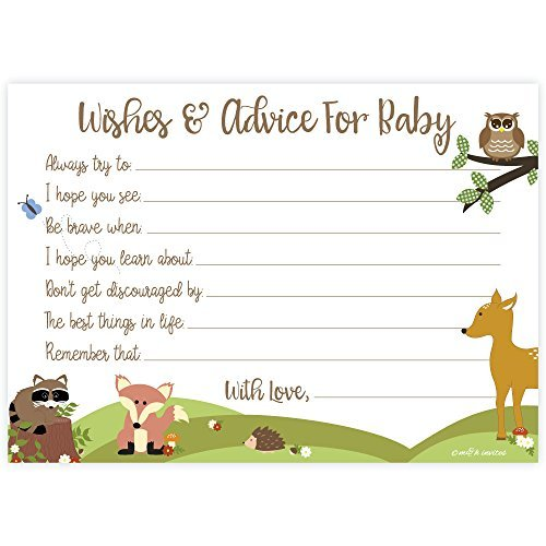 Woodland Baby Shower Wishes and Advice for Baby Cards (50 Count)