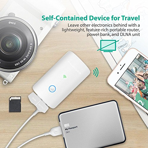RAVPower FileHub Router WiFi Portatile, Ripetitore WiFi, Lettore per SD Card Fino a 256G, Hard Disk Wireless, Powerbank da 6000mAh, Hotspot, Access Point per Disco e Ciavetta USB, File Share, Bianco