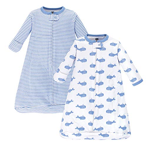 Hudson Baby unisex baby Cotton Long-Sleeve Sleeping Bag, Sack, Wearable Blanket, Blue Whales, 0-3 Month US