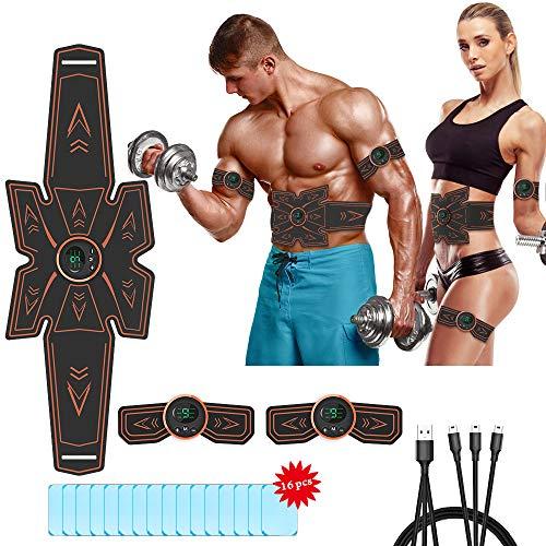 iThrough Bauchmuskeltrainer,Muskelstimulator,wiederaufladbares EMS Trainingsgerät,Bauchmuskel Simulator,Bauch/Bein/Armmuskeltoner für Männer und Frauen