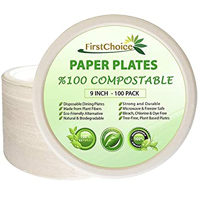 100 9 Inch Round Disposable Plates Natural Sugarcane Bagasse Fiber Sturdy Plate, Paper Plastic Tree Plastic Free 100 Count