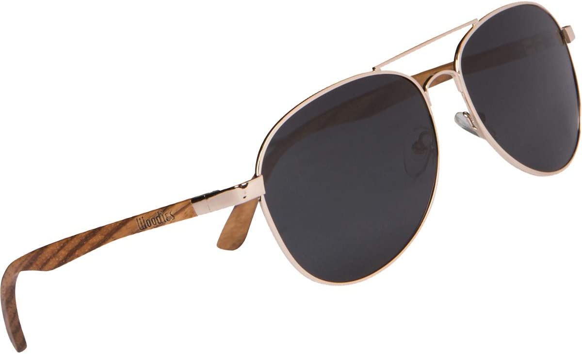 Miami Mall Woodies Full Wood Sunglasses with Frame B New mail order and Goldwire Polarized