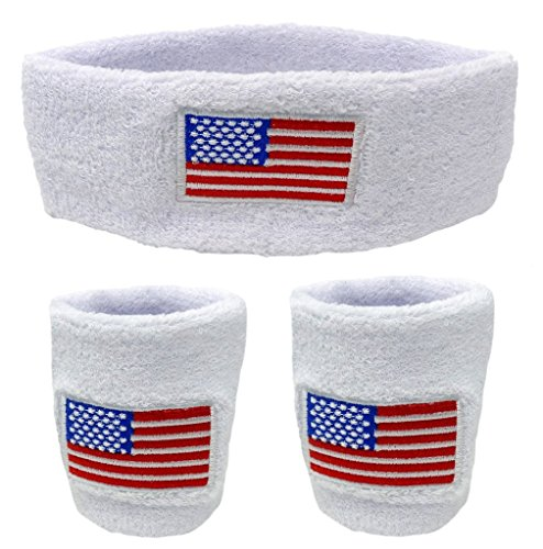 Funny Guy Mugs USA Flag Unisex Sweatband Set (3-Pack: 2 Wristbands with Zipper/Wrist Wallet & 1 Headband)
