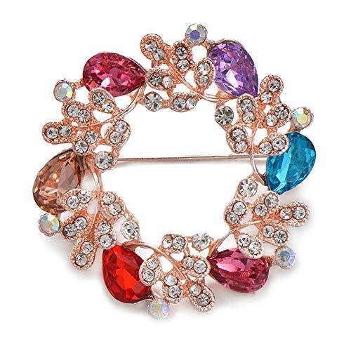 Piero Klassische Kristallbroschen für Frauen Dame Elegantes Brautkleid Strass Blumenbrosche Pins, 11