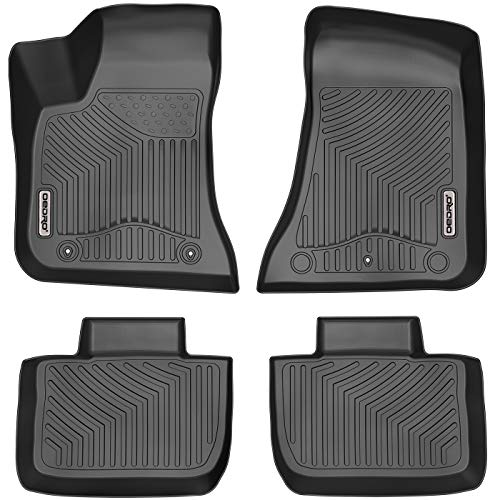 OEDRO Floor Mats Fit for 2011-2021 Dodge Charger/Chrysler 300 RWD, Black TPE All Weather Front & 2nd Seat Custom Fit Liners