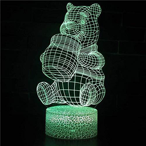 Nachtlampje beer schattige honing 3D voor kinderen, nachttafellampje, LED, USB, 7 wisselende kleuren, met afstandsbediening voor kinderen, volwassenen, verjaardagscadeau en vakantie