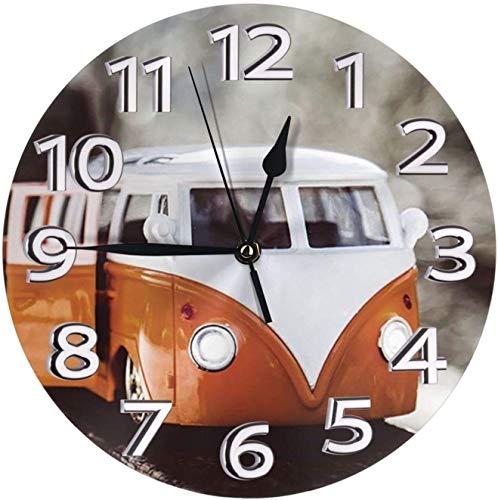NL Orologio da Parete Moderno Orologio da Parete con Numeri di Autobus VW, Frameless, Grande, Ideale per Ogni Camera di casa, Sala da Pranzo, Cucina, Ufficio, Scuola