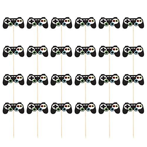 Supvox 24 Stücke Kuchendeckel Video Game Controller Cupcake Topper Video Gaming Party Kuchen & Cupcake Topper für Kinder Spiel Themenorientierte Party