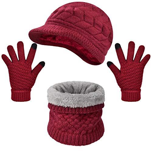 Tuopuda Crochet Invierno Beanie Gato Gorro de Punto Caliente Cozy Mujeres Grande Sombrero Moda Diseño de Lana Tejer Warm Caps (Rojo- Gorro+Bufanda+Guantes)