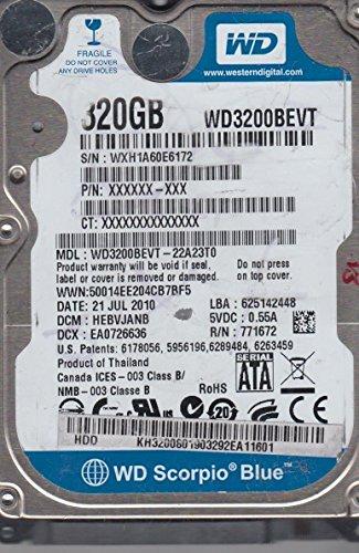 WD3200BEVT-22A23T0, DCM HEBVJANB, Western Digital 320GB SATA 2.5 Disco Duro