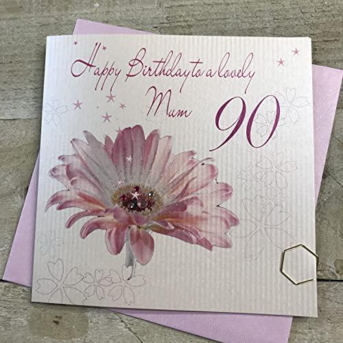 White Cotton Cards Carte d'anniversaire Faite Main Inscription Happy 90th Birthday to a Lovely Mum Motif Gerbera Rose