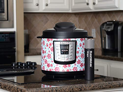 SteamMates Wraps Compatible with Instant Pot Accessories 6 qt | Customize Your Instant Pot with Different Designs | Fits InstaPot Lux 6 qt ONLY | Spring Floral Red Lux 6 Qt