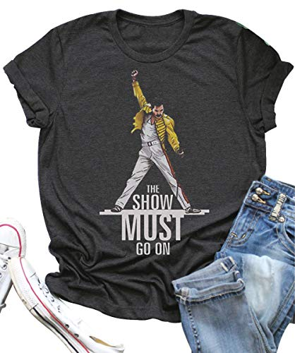 Vintage Queen T Shirt The Show Must Go On Summer Funny Freddie Mercury Graphic Tees Top for Music Lovers (M, Grey)