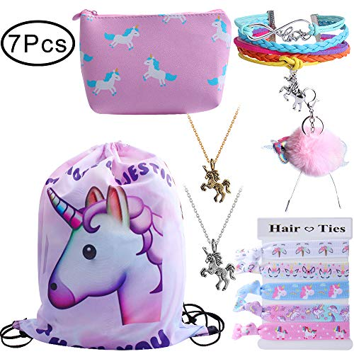 Standie 7PCS Drawstring Backpack for Unicorn Gift for Girls Include Makeup Bag Bracelet Necklace Hair Ties For Unicorn Party Favors