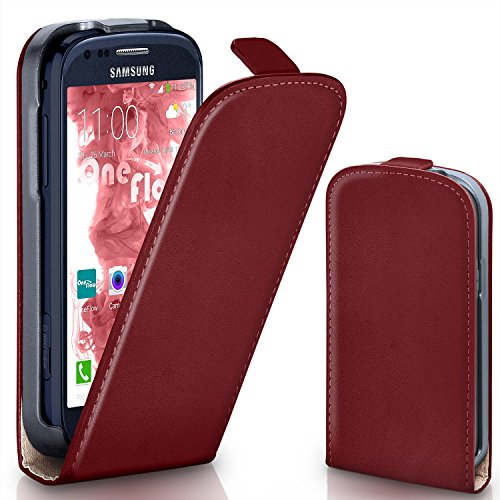 MoEx® Flipcase kompatibel mit Samsung Galaxy S3 Mini | Klapphülle Handytasche mit Rundum Schutz - Handy Hülle Klappbar Flip Case, Wein-Rot
