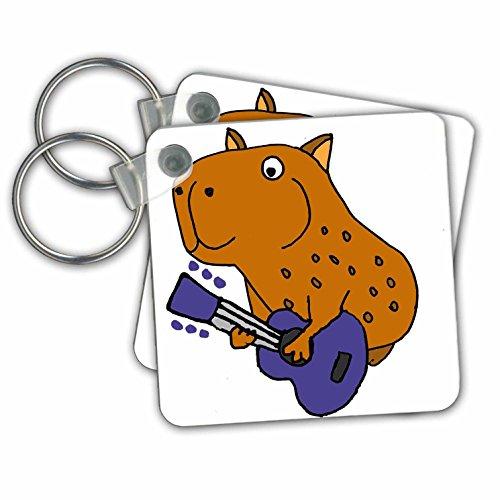 3dRose Cool Grappige Capybara Spelen Gitaar Cartoon - Sleutelhangers, 2.25-inch, Set van 2 Sleutelhanger, 6 cm, Varies