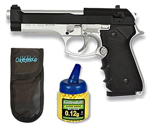 Outletdelocio Pack Pistola Airsoft M92F metálica. Calibre 6mm. + Funda portabalines + Biberon 1000 Bolas. 47732/23054/21993