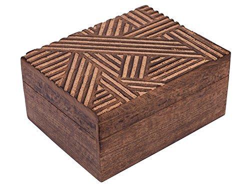 Store Indya, Handmade Mangowood decorativo Gioielleria bagagli Trinket Keepsake multiuso Box Con Rustic Crosshatch Sculture (Large)