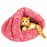 Cat Bed Sleeping Bag Sleep Zone for Puppy Cat Rabbit Bed Small Animals Shearling Sleeping Bag,Pink