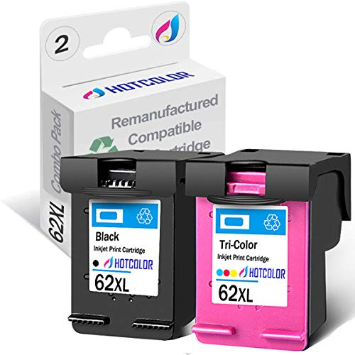 HOTCOLOR 62XL 2 Pack (1 Black 1Color) High Yield for HP 62XL Ink Cartridges C2P05AN C2P07AN for Envy 7645 OfficeJet 5740 5742 5745 Printer