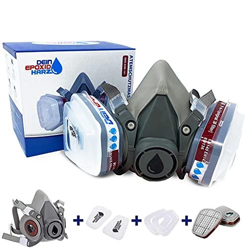 Longfair Atemschutzmaske | wiederverwendbar | Halbmaske mit Filterkartusche für Epoxidharz-, Säge-, Schleif oder Renovierungsarbeiten