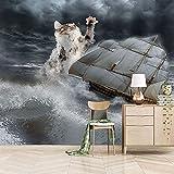 Murales Papel Pintado 200X150cm Gato Navegando Papel Pintado De Pared Diseño De Paisaje Mural 3D Decoración Pared Impresión Salon Dormitorios Fotomurales