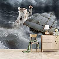 QHZSFF 3D壁画壁紙 猫とボート リビングルーム寝室の壁の装飾家の装飾壁画の写真壁紙用壁 200 x 175cm