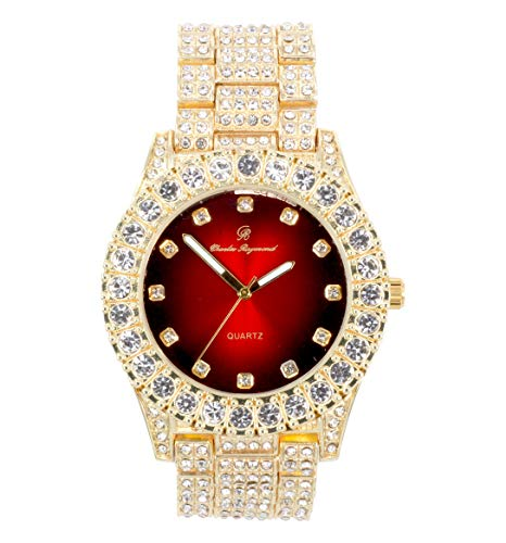 Bling-ed Out Round Metal Mens Color on Blast Silver Tone Watch with Diamond Time Indicators - Ice on Fire!!! - ST10327DxxS (Gold-Blood Red)