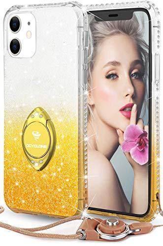 OCYCLONE Hülle Kompatibel mit iPhone 11, Glitzer TPU Silikon Handyhülle mit Ring Ständer, Diamant halb-transparent iPhone 11 Schutzhülle - Champagner Gold