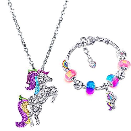 Unicorn Sparkly Crystal Cham Bracelet Necklace Set with Greeting Card Gift Box for Girl Lady Christmas Birthday (16 cm/ 6.3 Inch)
