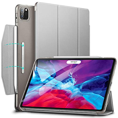 ESR Case for iPad Pro 12.9'' 2020/2018, Yippee Trifold Smart Case with Auto Sleep/Wake, Lightweight Stand Case with Clasp, Hard Back Cover,Sliver Grey