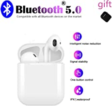 Bluetooth 5.0 Wireless Earbuds  Waterproof TWS Stereo Headphones in-Ear Built-in Mic Headset Premium Sound with Deep Bass for Sport Earphones Apple Airpod and airpods Bluetooth Headsets