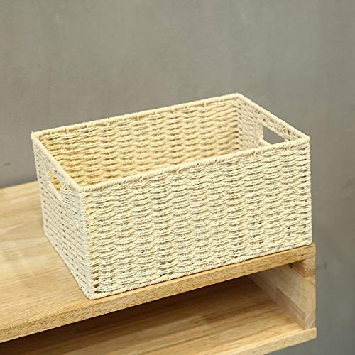 COJJ Woven storage basket tabletop toys sundries snack box storage basket fabric storage basket rattan woven straw frame