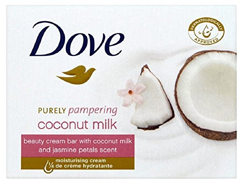 Dove Purely Pampering Coconut Milk, with Jasmine Petals Scent Beauty Bar Soap 3.5 Oz / 100 Gr (Pack of 12 Bars)