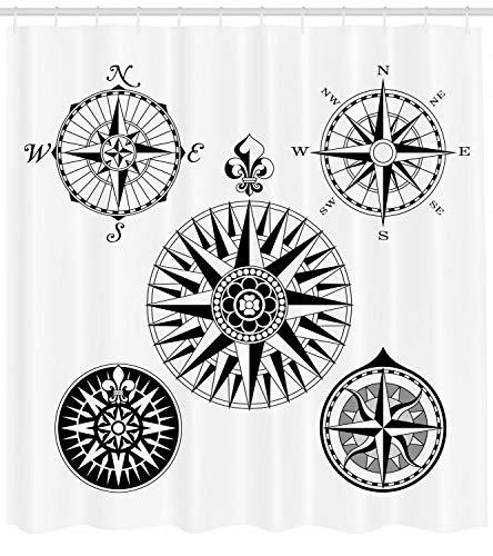 123456789 kompas douchegordijn vijf windroses hoeken afdrukken voor badkamer