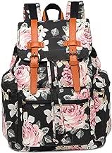 Girls School Backpack Women College Bookbag Canvas Vintage Travel Rucksack 15.6 inches Laptop Bag (Black floral)