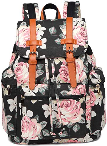 Girls School Backpack Women College Bookbag Canvas Vintage Travel Rucksack 15.6 inches Laptop Bag (Black floral)
